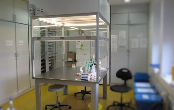 AuftischEinhausung Insellösung-Reinluft-Produktschutz